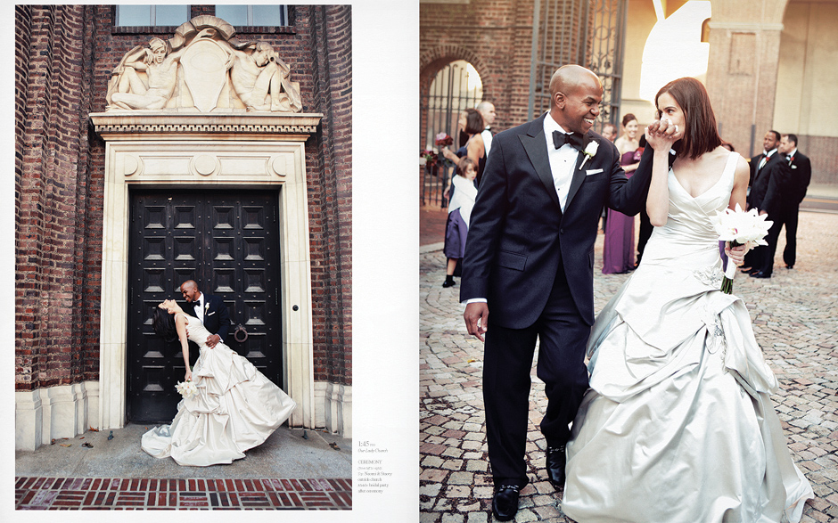 the groom dips the bride in front of a grand doorway at the penn museum of